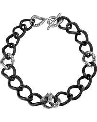 John Hardy Batu Naga Silver Chain Link Necklace with Black Sapphire - Lyst