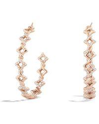 David Yurman Venetian Quatrefoil Hoop Earrings with Diamonds in Rose Gold - Lyst