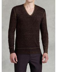 John Varvatos Reverse Print V-neck Sweater - Lyst