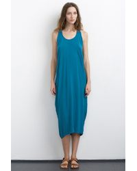 Velvet By Graham & Spencer Larkin Challis Drape Back Midi Dress blue - Lyst