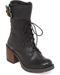 Lucky Brand Nylah Leather Mid Shaft Boots - Lyst
