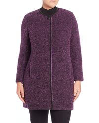 Stizzoli - Tweed Leather-trimmed Coat - Lyst