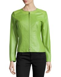 Lafayette 148 New York Round Neck Leather Jacket - Lyst