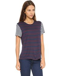 The Lady & The Sailor - The Boy Tee - Scarlet Stripe/grey Stripe - Lyst