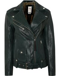 Replay Green Leather Jacket - Lyst