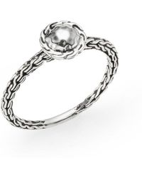 John Hardy Sterling Silver Carved Chain Disc Ring - Lyst