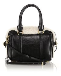 Burberry | Mini Bee Leather & Shearling Bowler Bag | Lyst