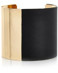 River Island Gold Leather Cuff - Lyst