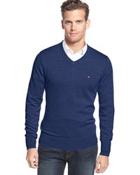Tommy Hilfiger Signature Solid V-Neck Sweater - Lyst