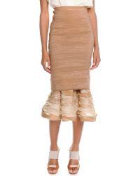 Donna Karan New York Slim Skirt With Ruffle Hem - Lyst