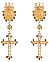 Dolce & Gabbana Escape Clip-On Embellished Earrings gold - Lyst