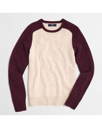 J.Crew Factory Lambswool Colorblock Sweater - Lyst