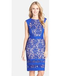 Tadashi Shoji Pleated Lace Dress - Lyst