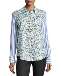Equipment Slim Signature Contrastsleeve Floral Blouse - Lyst