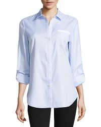 Lafayette 148 New York Long-sleeve Pin-stripe Poplin Blouse - Lyst