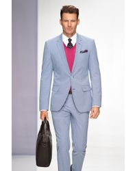 Hugo Boss Hedsongander  Slim Fit Textured Stretch Cotton Mini Check Suit - Lyst