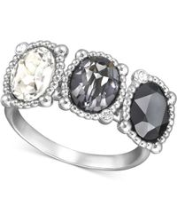 Swarovski Palladiumplated Graduated Crystal Ring - Lyst
