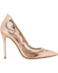 Gianvito Rossi 100mm Metallic Leather Pvc Pumps - Lyst