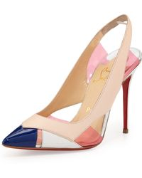 Christian Louboutin Air Chance Mixed Peekaboo Slingback Pump - Lyst