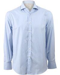 Brunello Cucinelli Striped Spread Collar Shirt blue - Lyst