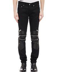 Saint Laurent Leather-Detail Moto Zip Jeans - Lyst