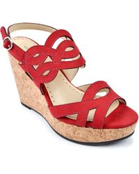 Adrienne Vittadini | Camber Leather Platform Wedge Sandals | Lyst