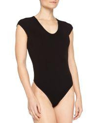 Michael Kors Cap-sleeve Scoop-neck Bodysuit - Lyst