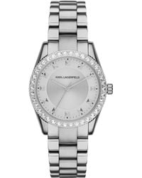Karl Lagerfeld Womens Petite Stud Stainless Steel Bracelet Watch 34mm - Lyst
