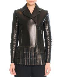 Valentino Leather Jacket With Fringe - Lyst