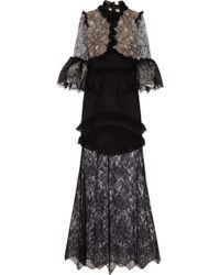 Alessandra Rich Ruffled Chantilly Lace Gown - Lyst