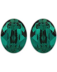 Swarovski Bis Silver Tone and Emerald Crystal Stud Earrings - Lyst