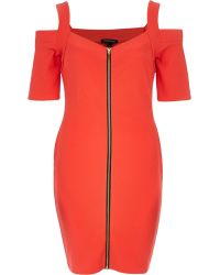 River Island Red Zipped Shoulderless Bodycon Dress - Lyst
