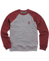 Obey Star Crown Sweat Heather Grey Deep Burgundy - Lyst