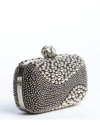 Alexander McQueen Black Leather Jewel Embroidered Accent Skull Detail Clutch - Lyst