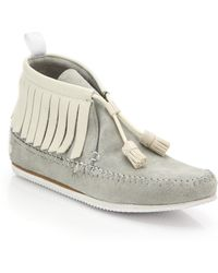 Rag & Bone Ghita Leather & Suede Moccasin Ankle Boots gray - Lyst