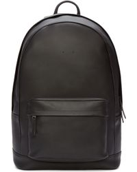 PB 0110 - Black Leather Front Pouch Backpack - Lyst