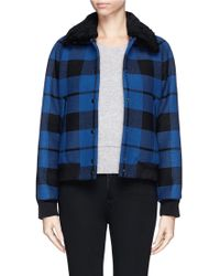 Sandro Vega Shearling Collar Plaid Bomber Jacket - Lyst