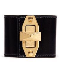 Alexander McQueen Stud Turn Lock Leather Cuff - Lyst