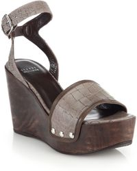 Stuart Weitzman Croc-Embossed Leather Platform Wedge Sandals - Lyst