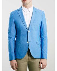 Topman Blue Oxford Skinny Fit Blazer - Lyst