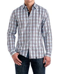 Stone Rose Babyblue & Bordeaux Plaid Sport Shirt - Lyst