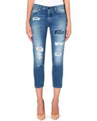 7 For All Mankind Josie Skinny Boyfriend Lowrise Jeans Blue Rocks - Lyst