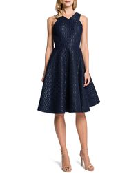 Cynthia Steffe Sleeveless Metallic Hexjacquard Fitandflare Dress - Lyst