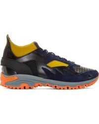 Kolor Navy Neoprene And Leather Sneakers - Lyst