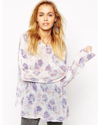 Asos Slouch Jumper In Floral Print - Lyst