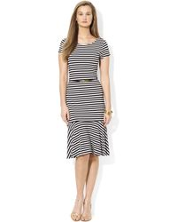 Lauren by Ralph Lauren Shortsleeve Striped Dropwaist Dress - Lyst