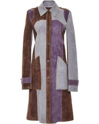 Derek Lam Suede Patch Pocket Tonal Trench - Lyst