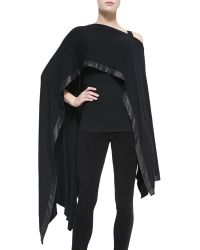 Donna Karan New York Cape with Leather Border - Lyst
