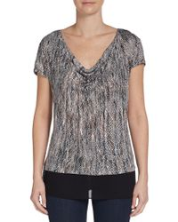 Ella Moss Printed Cowl Neck Jersey Knit Top - Lyst