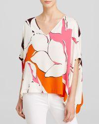 Diane von Furstenberg Top - Adria Floral Print Silk Poncho - Lyst